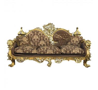 Sofá Clássico Estilo Francês Luis XV Marrom 3 Lugares Folheado a Ouro