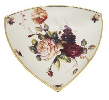 Centro De Mesa Em Porcelana Com Pintura Decorativa Bege e Rosas