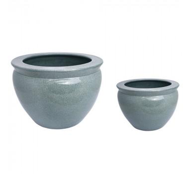Par de Cachepots Verde em Porcelana
