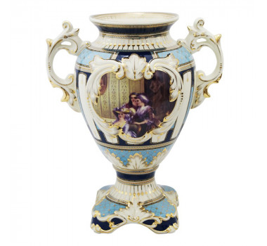Ânfora em Porcelana Limoges Azul Claro