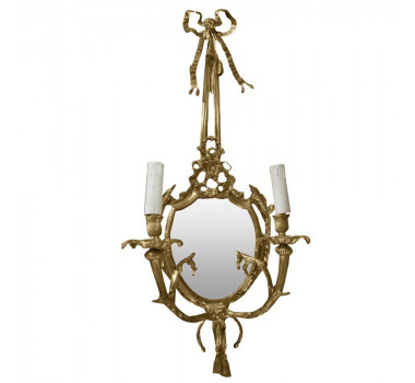 Apliques em Metal com Espelho e 2 Lampadas