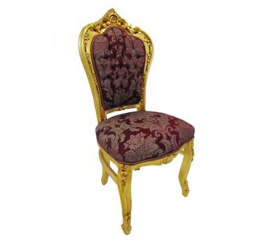 Cadeira Luis XV Prateada Estofado Vermelho