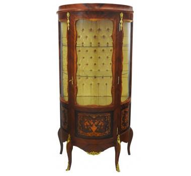 Cristaleira Clássica Marchetada Luis XV Francesa em Madeira