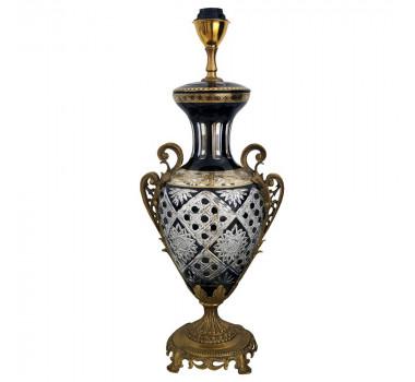 Luminária Preta em Vidro com Base em Bronze Detalhes em Ouro