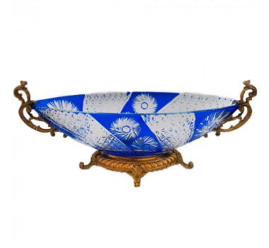 Centro de Mesa em Cristal Tcheco Azul Apliques em Bronze