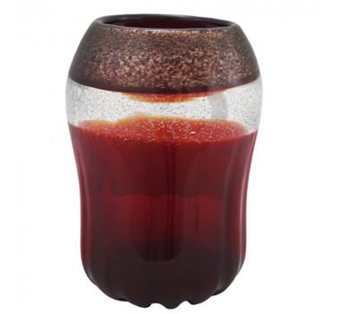 Vaso em Murano Vermelho Brilhante Modelado