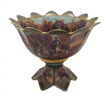 Centro de Mesa Porcelana Estilo Limoges Filetes em Dourado