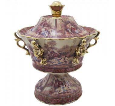 Potiche em Porcelana Vermelho e Dourado