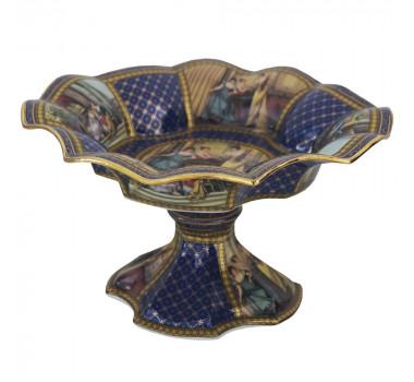 Centro de Mesa em Porcelana Azul e Dourado
