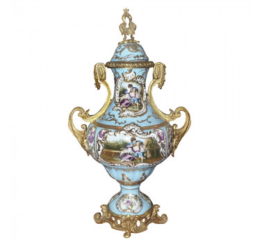 Potiche em Porcelana Sévres Azul Claro com Apliques em Bronze e Detalhes em Ouro