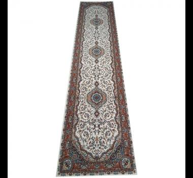 Passadeira Persa Tabriz com Detalhes em Beje e Marrom - 4,00x1,00cm