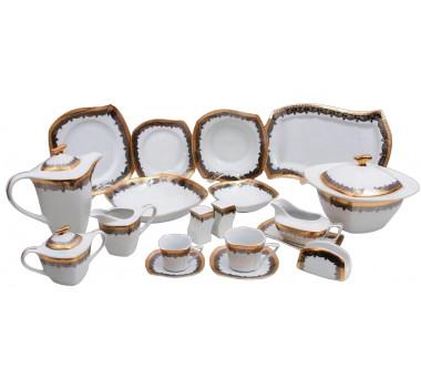 Aparelho de Jantar com Detalhes Dourado e Desenho Decorativo e Azul Prato em Formato Diferenciado- 114 Peças