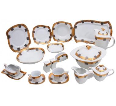 Aparelho de Jantar com Formato Decorativo com Borda Dourada e Detalhe Prata - 114 Peças