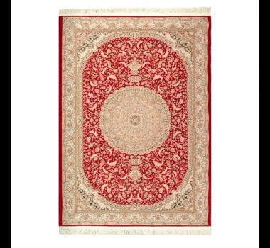 Tapete Iraniano Beluchi Vermelho com Detalhes Dourado - 150x100cm