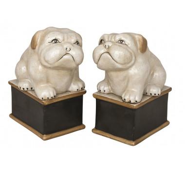 Par De Cachorros Em Porcelana 16x7x10cm