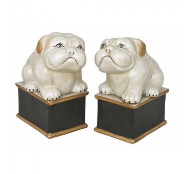 Par de Cachorros em Porcelana 16 cm x 7 cm x 10 cm