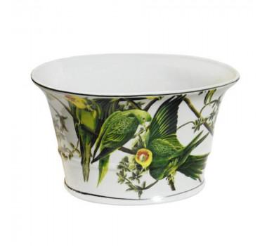 Cachepot em Cerâmica Pássaros Verde 15 cm x 26 cm x 18 cm