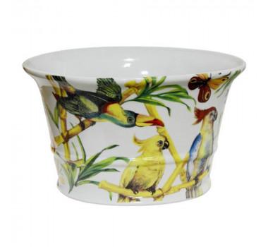 Cachepot em Cerâmica Pássaros e Borboletas 15 cm x 26 cm