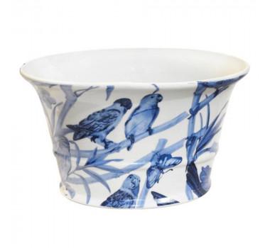 Cachepot em Cerâmica Pássaros Azuis 15 cm x 26 cm x 18 cm