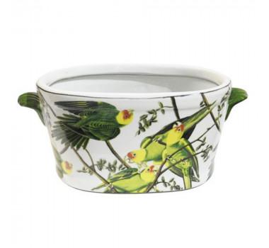 Cachepot em Cerâmica Papagaios 16 cm x 35 cm x 19 cm