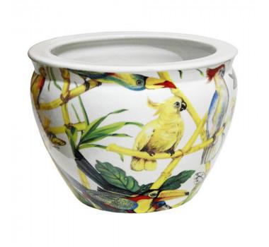Cachepot em Cerâmica Pássaros 18 cm x 26 cm x 26 cm