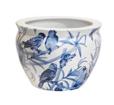 Cachepot em Cerâmica Pássaros Azuis 18 cm x 26 cm x 26 cm