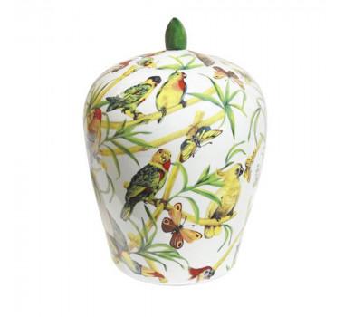 Potiche em Cerâmica Pássaros 33 cm x 23 cm