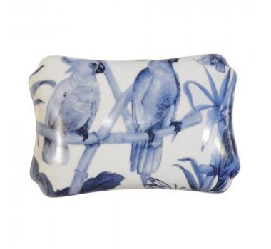 Caixa em Cerâmica Pássaro Azuis 9 cm x 18 cm x 14 cm