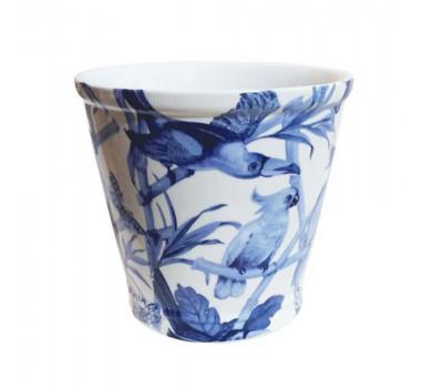 Cachepot em Cerâmica Pássaros Azul 22 cm x 23 cm