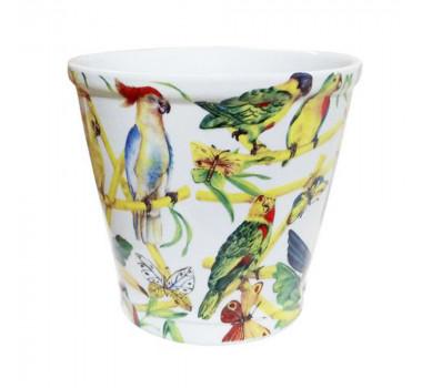 Cachepot em Cerâmica Pássaros e Borboletas 22 cm x 23 cm