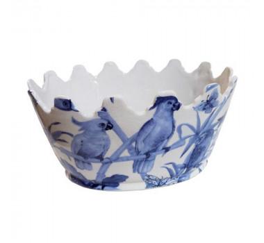 Cachepot em Cerâmica Pássaros Azuis 15 cm x 31 cm x 23 cm