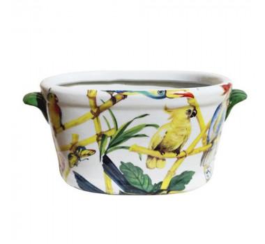 Cachepot em Cerâmica Pássaros e Borboletas 16 x 35 x 19 cm