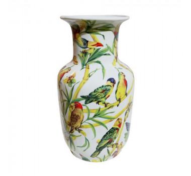 Vaso em Cerâmica Pássaros e Borboletas 19 cm x 30 cm x 20 cm