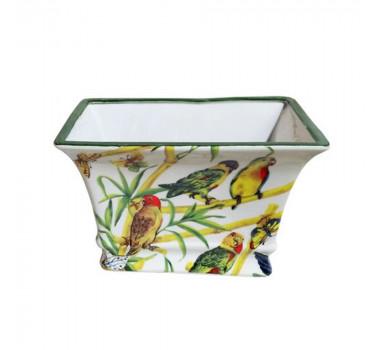 Vaso em Cerâmica Pássaros e Borboletas 17 cm x 26 cm x 18 cm