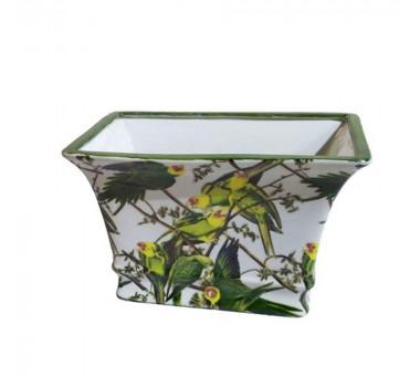 Vaso em Cerâmica Papagaios 17 cm x 26 cm x 18 cm