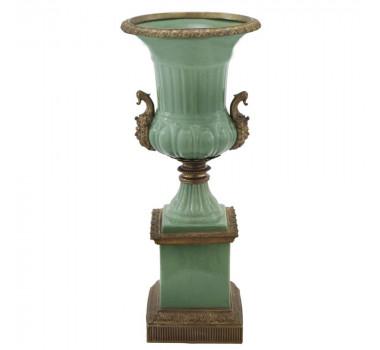 Vaso em Porcelana Clássica Verde Detalhes em Bronze