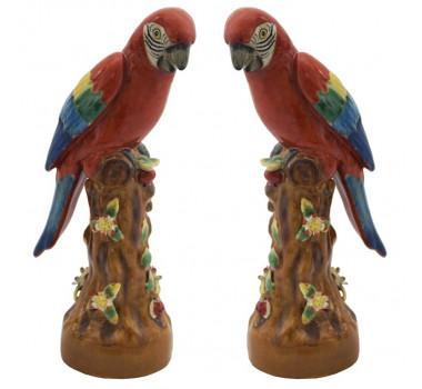 Par De Pássaro Em Porcelana Colorido