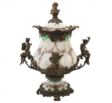 Potiche em Porcelana com Decoração Floral e Apliques em Bronze