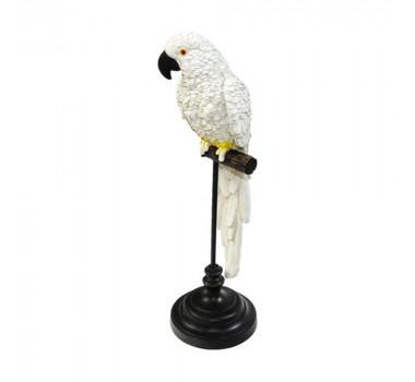 Escultura Decorativa Arara Branca