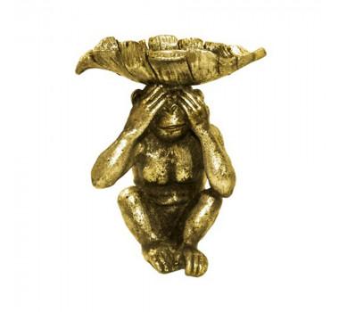 Castiçal Decorativa Macaco Dourado