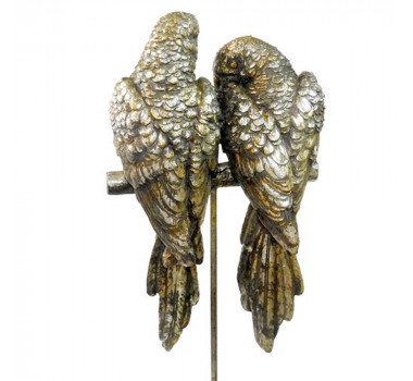 Escultura Decorativa Casal Araras Prata