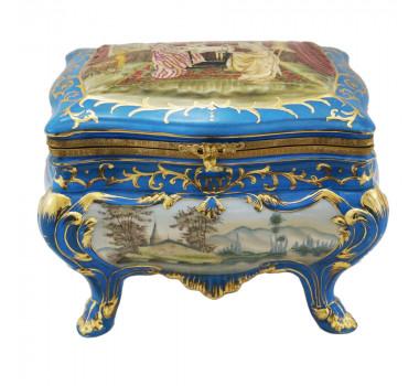 Caixa em Porcelana Clássica Estilo Limoges Filetes em Ouro