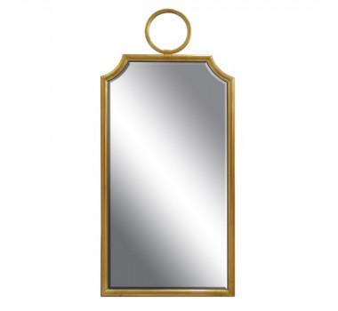 Espelho com Moldura em Aço Dourado