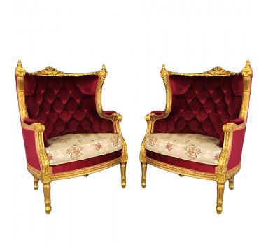 Par de Poltronas Luis XVI Folheada a Ouro Tecido Capitonê