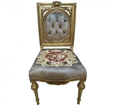 Cadeira Clássica Folheada a Ouro com Encosto Capitonê e Estampada