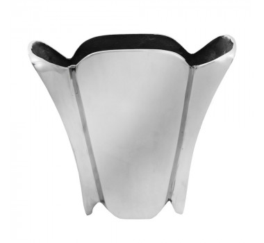 Vaso Em Aluminio Liso Prateado 22 X 26 X 7 Cm