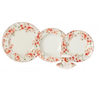 Aparelho de Jantar em Porcelana Floral 30 Peças