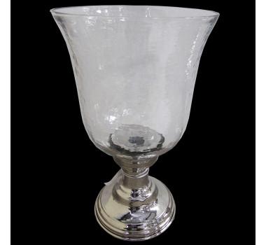Porta-Velas em Cristal e Alumínio 31 cm x 15 cm