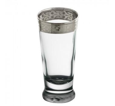 Jogo 6 Copos Cristal para Licor Cristal Luna Filete em Prata
