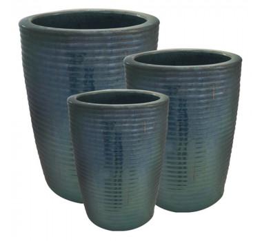 Vaso em Cerâmica Azul 3 Peças
